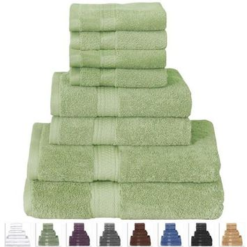 Towel Set in Soft Luxury 100-Percent Cotton Sage Green Eight Piece Bath