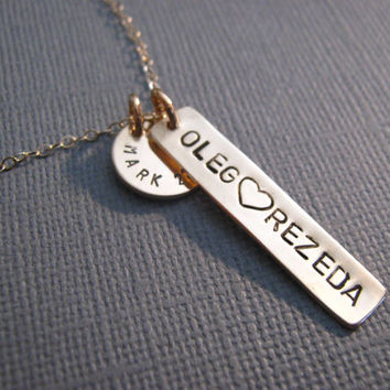 Personalized Name Necklace, Personalized Gift, Handstamped Necklace, Two Loves, Couples, His and Hers