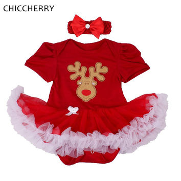 Red Nose Reindeer Rudolf Lace Tutu Girls Christmas Dress Headband Vestido Christmas Costumes for Kids Clothes Infant Clothing