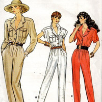 80s Retro Vogue Sewing Pattern 9923 Safari Style Jumpsuit One Piece Pantsuit Pants Suit Notched Collar Tapered Leg Bust 32