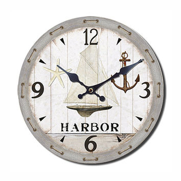 HARBOR Wall Clock Coastal Style 13.50x13.50 Inches - White Pattern - Unique Wall Clock - Coastal Home Decor