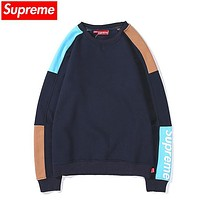 Supreme New fashion letter print contrast color couple long sleeve top sweater