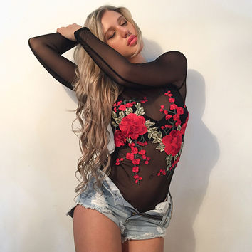 See through mesh bodysuit women embroidery flowers patches body jumpsuits long sleeve fitness sexy