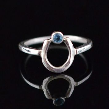 Sterling Silver Horseshoe Ring with Blue Topaz