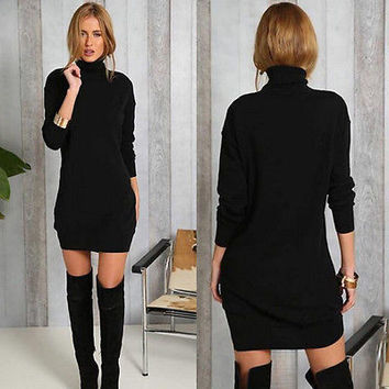 Autumn Winter Warm  Dress Women Bodycon Cold Shoulder Black Dress Ladies Casual  Dress UK 6-14