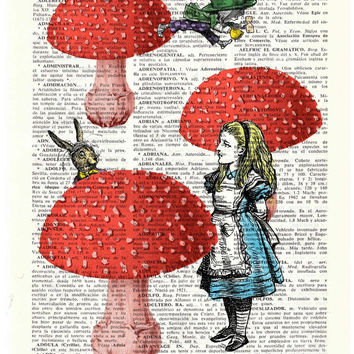 Alice in wonderland- Alice in Prrintland- Alice finding friends- Alice in Wonderland Collage Print on Vintage Dictionary Book art BPAW022