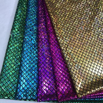 45*145CM Width Fish scale 4 ways stretch laser knit fabric for Tissue Kid Bedding textile for Sewing Tilda Doll