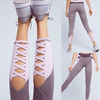 Yoga Patchwork Hollow Out Dancing Sports Jogging Pants