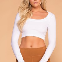 Melora White Long Sleeve Crop Top