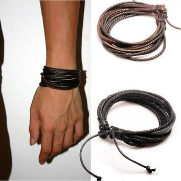 1Pc Monochrome Woven Leather Bracelet Pure Hand-painted Leather Rope Bracelets Women And Men Bracelet With Braided Rope PK043