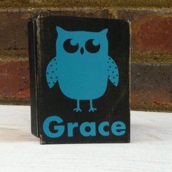 Personalized Owl  Mini Distressed Wood Block signage Housewares Nursery Decor