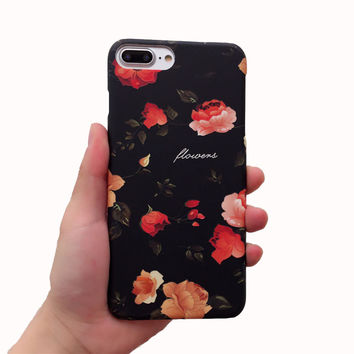 Vintage Floral Case Luminous Cover for iPhone 7 7Plus & iPhone 6s 6 Plus