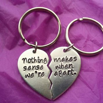 Best Friends Keychain Set - Couples Keychain Set - Nothing makes sense when we're apart - Personalized Keychain - Custom Keychain -