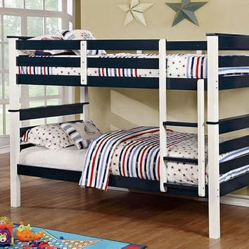 Brody Blue and White Twin over Twin Bunk Bed