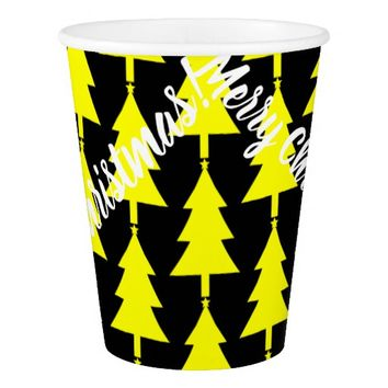 Merry Christmas Yellow Tree Paper Cup