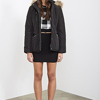FOREVER 21 Faux Fur-Trimmed Puffer Jacket Black