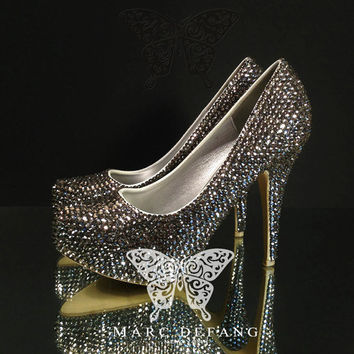 Black Diamond Crystals Luxury Closed Toe Heels