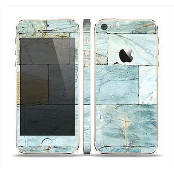 The Blue Marble Layered Bricks Skin Set for the Apple iPhone 5s