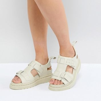 Dr Martens Kimilah White Leather Flat Sandals at asos.com