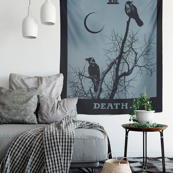 Death Tarot Card Tapestry - Death Tapestry - Blue