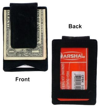 Black Leather Money Clip Wallet Credit Card ID Holder