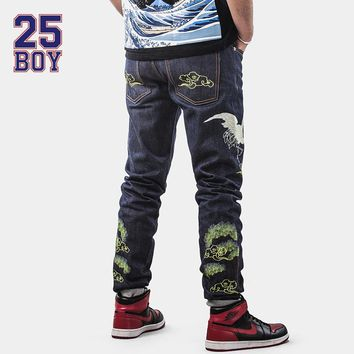 25BOY CARPTOWN Selvedge Denim Solid Pants with Embroidery Trendy Streetwear Chinese style Premium Craft Jeans