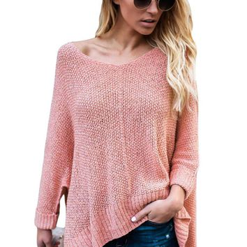 Pink Oversized Knit High-low Slit Side Sweater