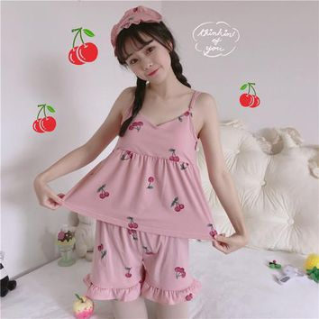 Korean Summer kawaii women crop top New super cute cherry print three-piece harness pajamas vadim home wear with chest pad