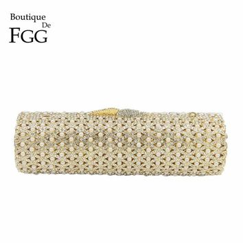 Boutique De FGG Hollow Out Crystal & Beaded Women Gold Evening Minaudiere Bags Wedding Party Handbag Bridal Mini Clutch Purse