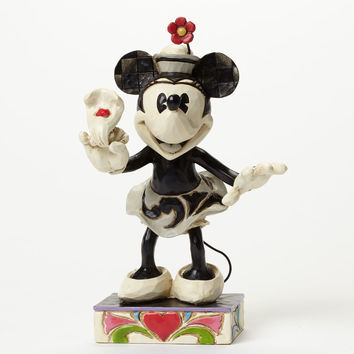 disney traditions minnie black and white with flowers jim shore new with box