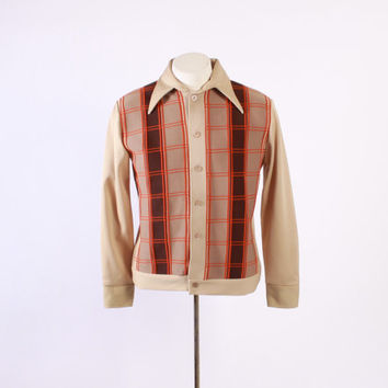 Vintage 70s Men's SHIRT / 1970s DAVINCI Panel Front KNIT Rat Pack Brown Button Down M