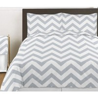 Gray and White Chevron 4 Piece Childrens and Kids Zig Zag Girl or Boy Twin Bedding Set Collection