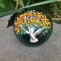 ONE OF A KIND Fall Fire Tree and Leaves Glass Pipe for Autumn