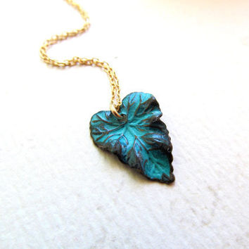 Leaf Necklace  Teal Blue Jewelry Gold Filled by BlueDoveStudio
