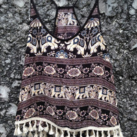 Camisole Top with Tassles Tribal Bohemian Boho Hobo Hippies Elephants Print Aztec Strappy Tank Beach Clothing Summer fashion Clothes Women