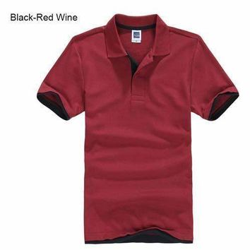 Burgundy with Black Men's/ Women's Polo Shirt XS-3XL