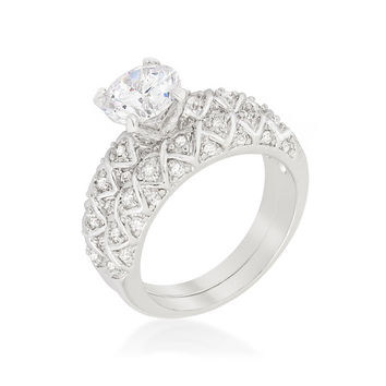 Lindy Round Cut Engagement and Wedding Ring Set | 2.8 Carat | Cubic Zirconia