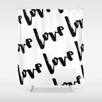 Shower Curtain - Love Shower Curtain - Black and White Shower Curtain - Love Decor - Modern Shower Curtain - Black and White - Gift for Her