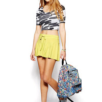 Yellow Skorts With Pleated Details