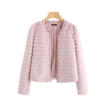 Fashion  Winter Collarless Cute Outer With Lining Women's Elegant Coat
