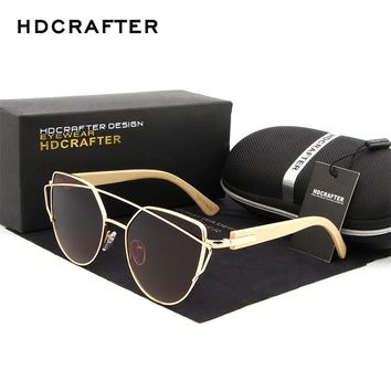 HDCRAFTER Cat Eye Polarized Sunglasses for Women Fashion Mirror Wood Bamboo Legs Sunglasses Women's Brand Designer Sun Glasses
