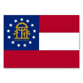 Patriotic table card with Flag of Georgia