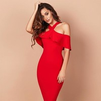 Crossover Off Shoulder Bandage Dress