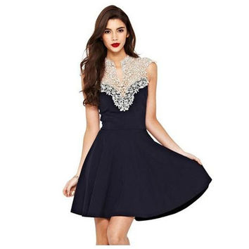 Fashion Slim Sexy Lace Sleeveless Halter Dress = 1876515588