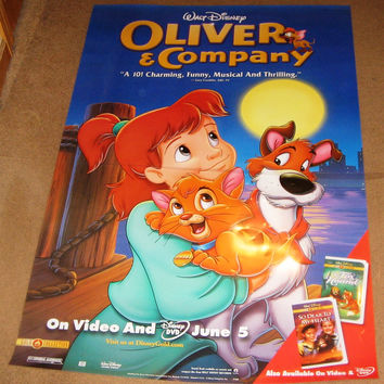 Oliver and Company 1988 Movie Poster 27x40 Disney Used Billy Joel, Cheech Marin