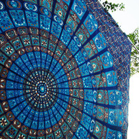 Large blue mandala hippie tapestry, wall hanging tapestries, queen mandala, hippie bedding, queen beach throw, Indian bedspread bohemian art