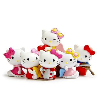 6PCS/Lot Hello Kitty Action Figure Toys Collection Kawaii Kitty Pvc Plastic Keychain Key Ring Figurines Juguetes Model Statue