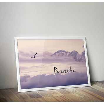 Breathe Sky Purple Poster Bohemian Art Print Poster  Design no frame 20x30 Large