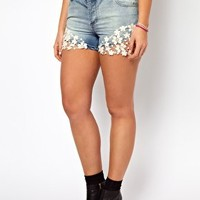 ASOS CURVE Exclusive Denim Short With Crochet Lace at asos.com