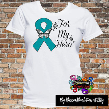 Ovarian Cancer For My Hero Shirts (Batten Disease, Myasthenia Gravis, PCOS, Peritoneal Cancer)